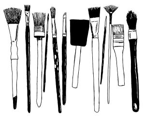 A sketch of my well used paintbrushes
