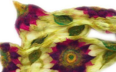 Nuno felted mandala scarf